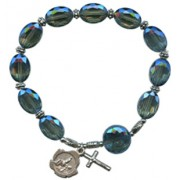 A Grade Glass Bead Rosary Bracelet Light Blue 12mm