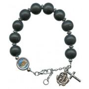 Adjustable Wood Rosary Bracelet Black