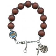 Adjustable Wood Rosary Bracelet Wine Red