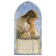 "Jesus Praying/ Our Father Prayer Plaque Spanish cm.10x20 - 4""x8"""