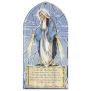 "Miraculous/ Hail Mary Prayer Plaque French cm.10x20 - 4""x8"""