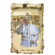 "Pope Francis Scroll Plaque cm.10x15 - 4""x6"""