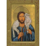 "Good Shepherd Wood Icon Plaque with Depression cm.10x15 - 4""x6"""