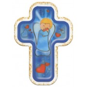 "Guardian Angel Hearts Blue Laquered Cross cm.10x14 - 4""x5 1/2"""