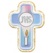 "Communion JHS Laquered Cross cm.10x14 - 4""x 5 1/2"""