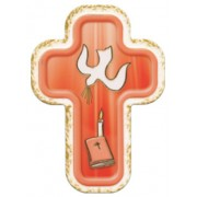 "Holy Spirit Red Laquered Cross cm.10x14 - 4""x 5 1/2"""