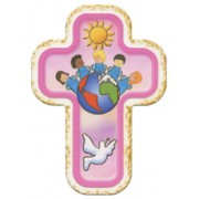 "Children of the World Pink Laquered Cross cm.10x14 - 4""x 5 1/2"""