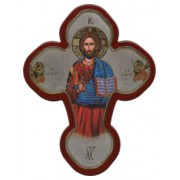 "Pantocrator Solid Cross Red/Gold cm.12x16 - 5""x 6 1/4"""