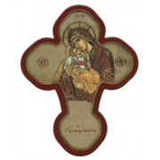 "Mother and Child Solid Cross Red/Gold cm.12x16 - 5""x 6 1/4"""