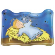 "Animated Baby Jesus Plaque and Stand cm.7.5x11 - 3""x 4 1/2"""