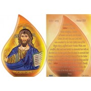 "Year of the Faith- Pantocrator Tear Drop Shaped Plaque and Stand English cm.9x13 - 3 3/4""x5"""