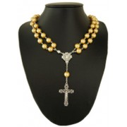 Imitation Pearl Rosary Necklace with Magnetic Clasp Gold mm.10