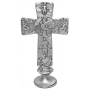 Confirmation Dove with Base Pewter Cross cm.16 - 6 1/4""