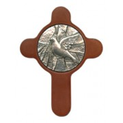 "Confirmation Pewter Medal with Brown Wood Cross cm.6.5 - 8.5 - 2 1/2"" x 3 1/3"""
