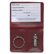 """Pouch with St.Francis Pocket Statue mm.25 - 1"""" and Rosary Ring mm.25- 1"""""""