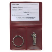 """Pouch with Padre Pio Pocket Statue mm.25 - 1"""" and Rosary Ring mm.25- 1"""""""