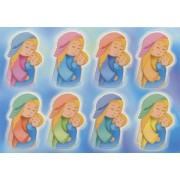 """Mother and Child Glow in the Dark Stickers cm.6.5x10 - 2.5""""x4"""""""