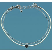 White Leather and Metal Chain Bracelet with Pewter Heart Gift Boxed