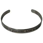 """Stainless Steel Bracelet """"LOVE IS PATIENT LOVE IS KIND"""" Gift Boxed"""