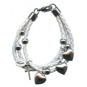 White Synthetic Leather Bracelet Solid Silver Heart Charms Gift Boxed