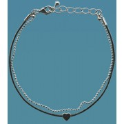 Black Leather and Metal Chain Bracelet with Pewter Heart Gift Boxed