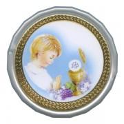 "Boy Communion White Octagon Rosary Box cm.5 - 2"""