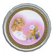 "Girl Communion White Octagon Rosary Box cm.5 - 2"""