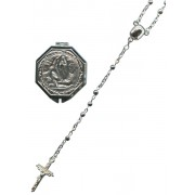R150S Silver Plated Rosary with Lourdes Rosary Box