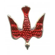 """Dove Red Enamel Lapel Pin Silver Plated mm.20 - 3/4"""""""
