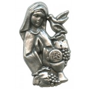 Girl Communion Lapel Pin Pewter mm.21 - 3/4""