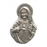 """Immaculate Heart of Mary Lapel Pin Pewter mm.21- 3/4"""""""