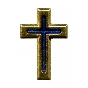 """Gold Plated Flat Cross with Blue Enamel Lapel Pin cm.2 - 3/4"""""""