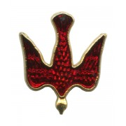 """Dove Red Enamel Lapel Pin Gold Plated mm.20- 3/4"""""""