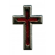 """Nickel Plated Flat Cross with Red Enamel Lapel Pin mm.20 - 3/4"""""""