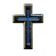 "Nickel Plated Flat Cross with Blue Enamel Lapel Pin mm.20 - 3/4"""