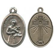 "St.Gerard Oxidized Oval Medal mm.22- 7/8"""