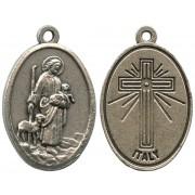 "Good Shepherd Oxidized Oval Medal mm.22- 7/8"""