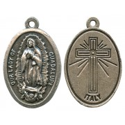 """Guadalupe Oxidized Oval Medal mm.22- 7/8"""""""