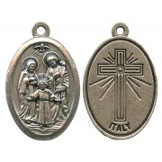 """Holy Family Oxidized Oval Medal mm.22- 7/8"""""""