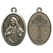 Immaculate Heart of Mary Oxidized Oval Medal mm.22- 7/8""