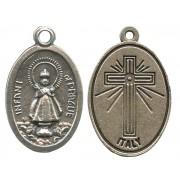 """Infant of Prague Oxidized Oval Medal mm.22- 7/8"""""""