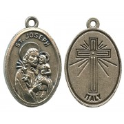 St.Joseph Oxidized Oval Medal mm.22- 7/8""