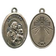 "St.Joseph Oxidized Oval Medal mm.22- 7/8"""