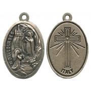 "Lourdes Oxidized Oval Medal mm.22- 7/8"""