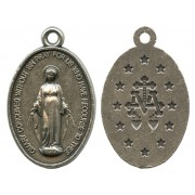 Miraculous Oxidized Oval Medal mm.22- 7/8""