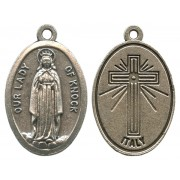 """Our Lady of Knock Oxidized Oval Medal mm.22- 7/8"""""""