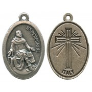 """St.Peregrine Oxidized Oval Medal mm.22- 7/8"""""""