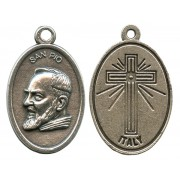 """Padre Pio Oxidized Oval Medal mm.22- 7/8"""""""