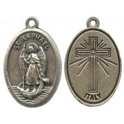 "St.Raphael Oxidized Oval Medal mm.22- 7/8"""