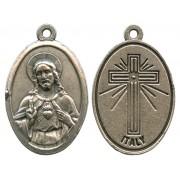 "Sacred Heart of Jesus Oxidized Oval Medal mm.22- 7/8"""